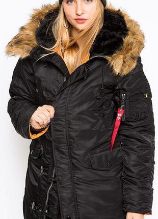 Зимова жіноча куртка аляска N-3B W Parka Alpha Industries (чорна)