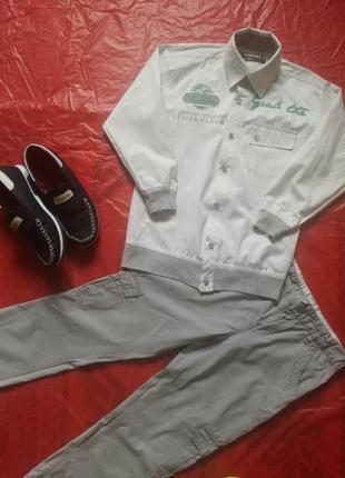 Стильная модная белая рубашка на выпускной нарядная мальчику 1...