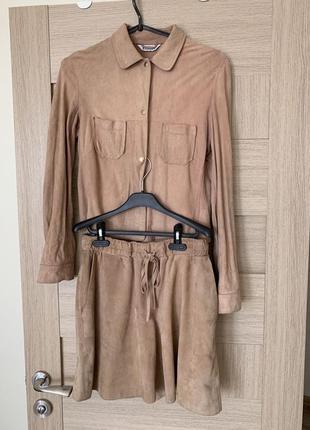 Блузка блуза рубашка нюдовый бежевый  натуральная замш