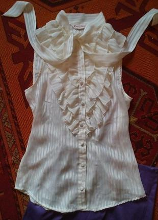 "Блузка блуза рубашка молочная под пиджак  ""жабо"""