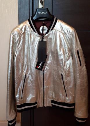 Новая кожаная куртка бомбер oakwood мембрана thinsulate™. бело...