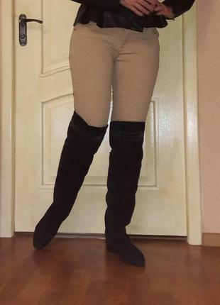 Крутые замшевые ботфорты высокие сапоги 25.5см рр 39-40 испания