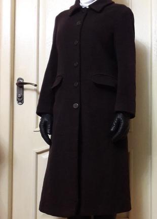 Кашемировое пальто длинное m с разрезом сзади