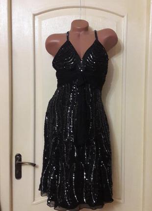 Шёлковое черное  коктейльное платье л миди