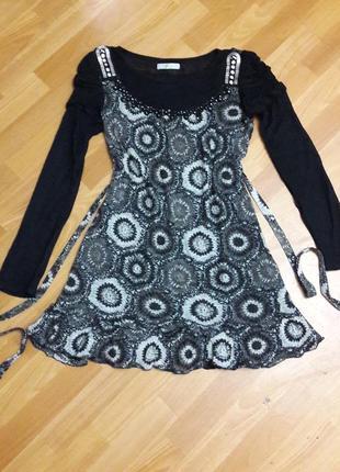 Шерстяное платье туника с поясом вязаное s-m