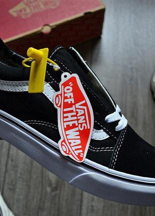 Vans old skool 'black&white'🔺 женские кроссовки венсы черные с...