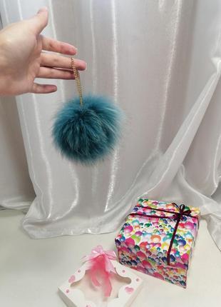 Брелок на сумку или ключи телефон натуральный мех песец