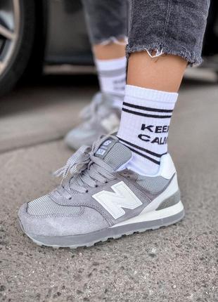 New balance  574   gray textile 🔺 женские кроссовки нью беланс...