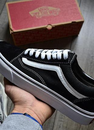 Vans old skool 'black&white'🔺 мужские кроссовки венсы черные с...