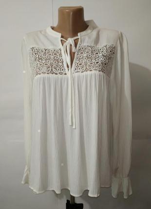Блуза новая белая с кружевной кокеткой вискоза h&m uk 10/38/s