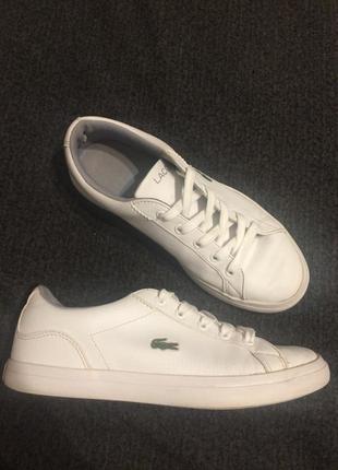 Lacoste кеды кроссовки кожаные белые унисекс 22 см