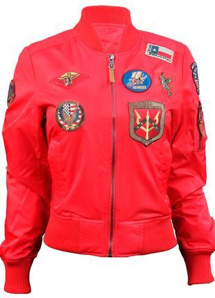 Жіночий бомбер Miss Top Gun MA-1 jacket with patches (червоний)