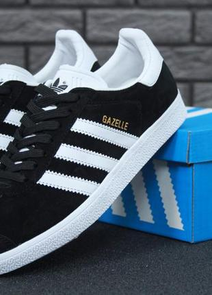 Adidas gazelle black/white🔺 женские кроссовки адидас газели че...