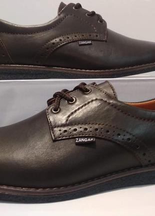 Туфли кожаные мужские zangak на шнурках