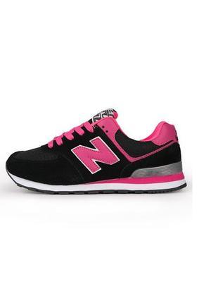Кроссовки нью баланс 574 black pink черные женские
