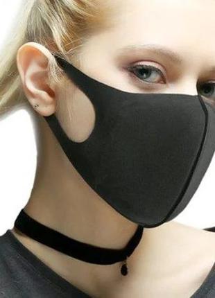 Маска Питта для защиты органов дыхания черная (неопрен и дайвинг)