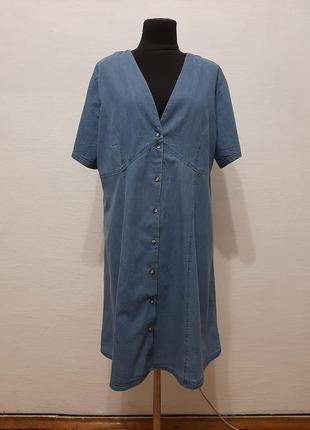 """Стильное модное платье халат """"дейним """"  большого размера"""
