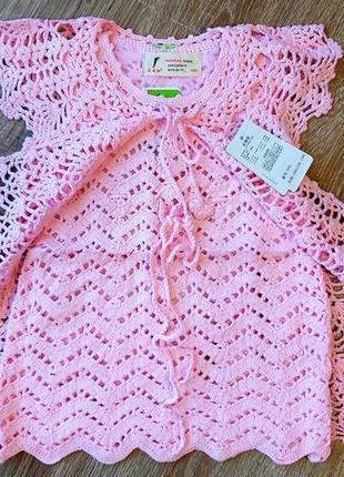 Комплект ажурный кардиган и платье-туника девочке