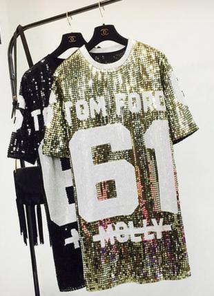 Женское платье туника с пайетками золотое