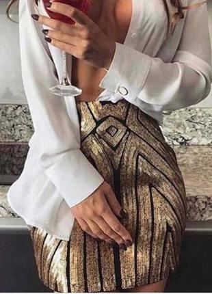 Женская бандажная юбка с пайетками золотая