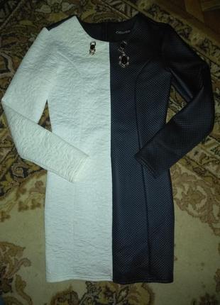 Оригинальное черно-белое платье
