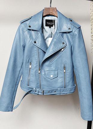 Женская куртка косуха из кожзама голубая