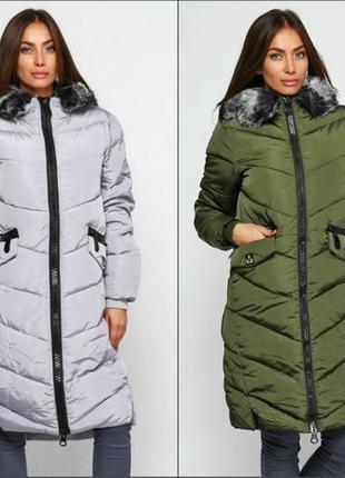 Женская длинная куртка парка пуховик UNIQLOОK с толстой молнией