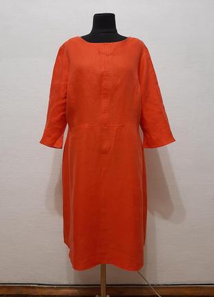 """Стильное модное льняное платье """" апельсинка """"  большого размера"""