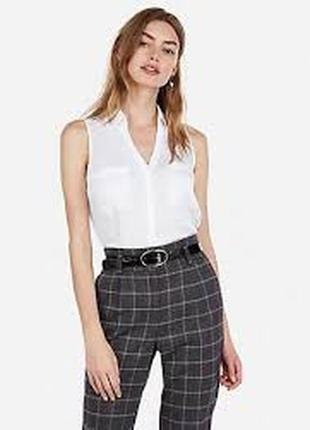 Белая блуза без рукавов\рубашка\біла блуза без рукавів\сорочка
