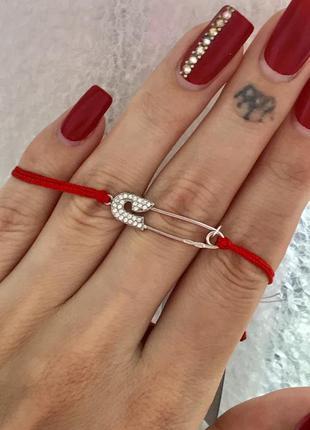 Красная нить серебро 925 браслет булавка 4076