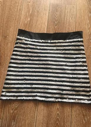 Полосатая юбка в черно-белые пайетки #розвантажуюсь