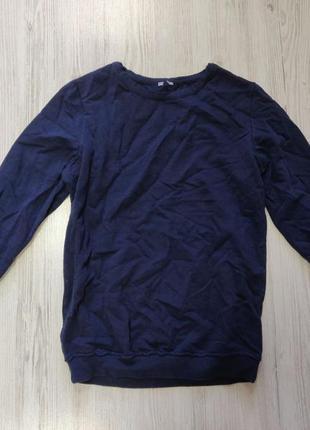 Темно синий джемпер в бойфренд стилe с необработанной горловиной