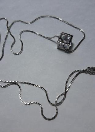 Цепочка серебро 925 проба, с подвеской кубик с камешком, камушком