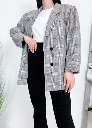 Пиджак оверсайз в клетку винтаж винтажный плечи фонарики
