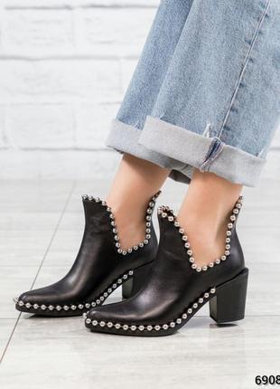 ❤ женские черные весенние деми кожаные ботинки казаки ❤