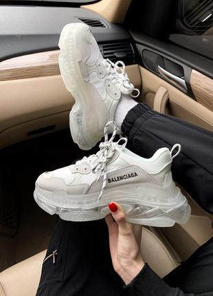 Balenciaga triple s clear sole white 🔺 женские кроссовки