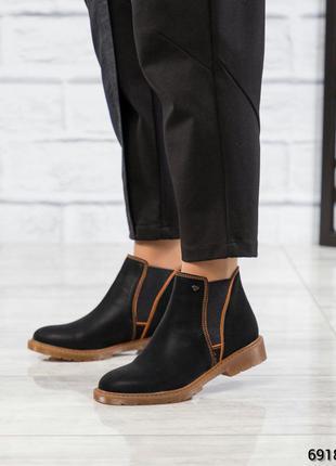 ❤ женские черные весенние деми кожаные ботинки на байке  ❤