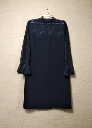 Красивое прямое черное платье сукня гипюр кружево