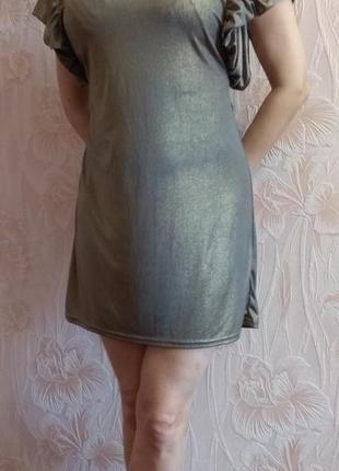 Шикарное платье с люрексовым напылением topshop р. 44-46