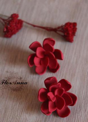 """Красные серьги с цветами ручной работы из полимерной глины """"го..."""