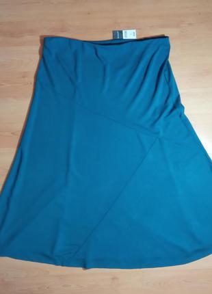 Шикарная бирюзовая юбка 86%вискоза