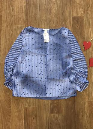 Стильная рубашка блузка в полоску в горох рукав волан h&m