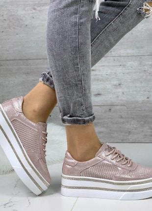 Розовые замшевые кроссовки кеды на платформе, кроссовки розовы...