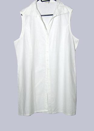 Белоснежная льняная удлиненная рубашка-безрукавка