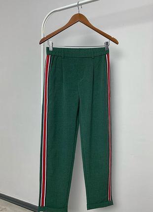 Новые зеленые брюки с лампасами