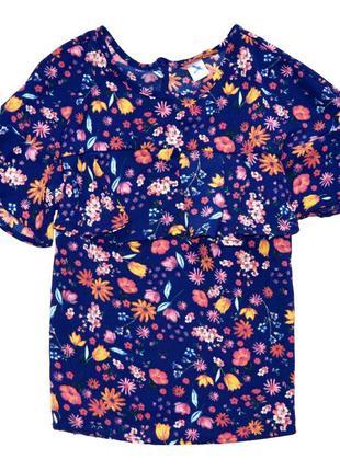 Tu. шифоновая блуза в цветочный принт с воланом. 8 лет. рост 1...
