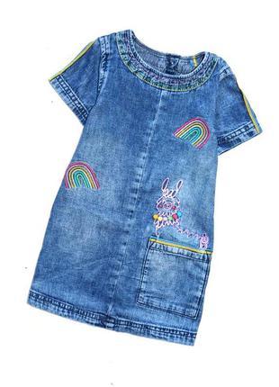 Next. очень крутое джинсовое платье с вышивкой. 9-12 мес. рост...
