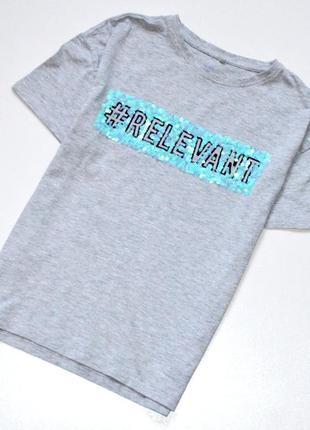 Next ,коллекция 18 года. стильная футболка с хештегом и пайетк...