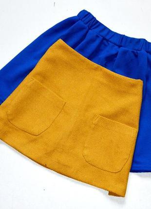 Стильная юбка горчичного цвета, трапеция