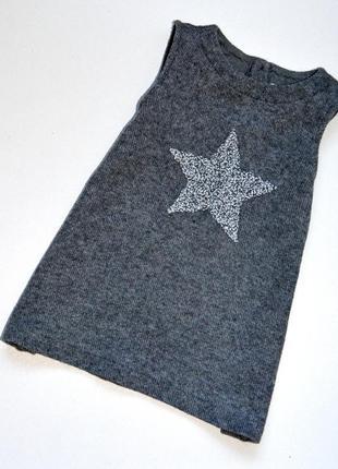 Zara. модный трикотажный сарафан со звездой. 18-24 мес. с шерс...
